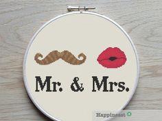 cross stitch pattern Mr. & Mrs. just married modern by Happinesst