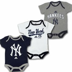 Your little New York Yankees baby fan can enjoy different Yankees infant clothes each day for an entire weekend series. This three piece body suit sets comes with a team color, white and grey body suit. This is a perfect gift for any newborn Yankees fan. Yankees Baby, New York Yankees, Baby Baseball, Yankees Logo, Baby Fan, Baby Love, Babe, Baby Boy Rooms, Baby Boy Fashion