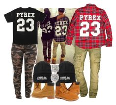 """""""Swag Couple"""" by blasianmami16 ❤ liked on Polyvore featuring Pyrex, PRPS Goods & Co. and Timberland"""