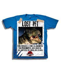 Look what I found on Royal Blue 'Lost Pet' Jurassic Park Tee - Boys by Jurassic World Cool T Shirts, Tee Shirts, Jurassic Park World, Losing A Pet, Big Kids, Short Sleeve Tee, Royal Blue, Dinosaur Stuffed Animal, Pets