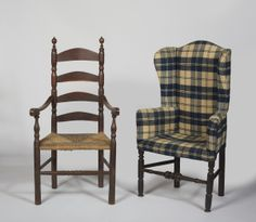 18th c. make do easy chair made from a ladderback armchair along with a similar ladderback armchair in it's original state. www.skinnerinc.com