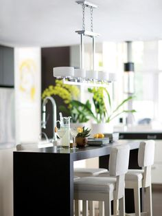 11 Awesome Kitchen Light Ideas Black dinner table with lighting modern kitchen �C Beeboats