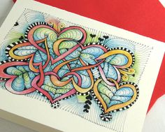 Colored Tangled Hearts Greeting Card by openseed on Etsy, $12.00