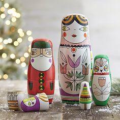 Russian matryoshka nesting dolls hand painted by Suzy Ultman for Crate and Barrel. Owl, Santa, Christmas Tree.