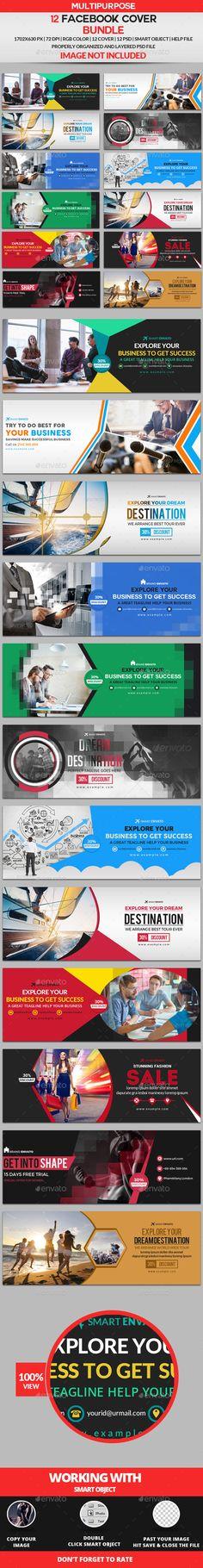 Facebook Cover Templates PSD Bundle - 12 Design Facebook Cover Template, Facebook Timeline Covers, Facebook Cover Design, Book Design Layout, Ad Design, Graphic Design, Facebook Text, Fb Covers, Branding