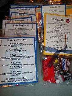 God's Survival Kit gift for Teacher appreciation Vbs Crafts, Church Crafts, Bible Crafts, Catholic Crafts, Candy Crafts, Sunday School Lessons, Sunday School Crafts, Object Lessons, Bible Lessons