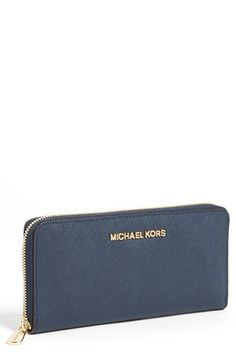 MICHAEL Michael Kors 'Jet Set' Saffiano Zip Around Wallet available at #Nordstrom-to match navy laptop MK tote