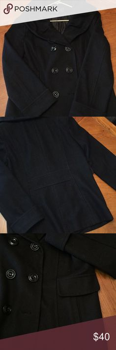 """Women's Pea Coat Giacca by Gallery Co. black pea coat. Size L. In good condition. Shell is 60% wool 30% polyester 10% rayon. Lining 100% polyester. Length (center back) 29"""" Gallery Jackets & Coats Pea Coats"""