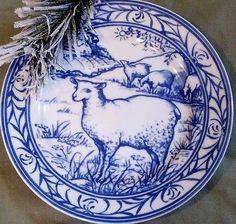 Williams-Sonoma BRITTANY Sheep Plate Blue & White Pastoral Farm French Kitchen