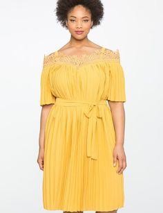 Plus Size Lace Off The Shoulder Pleated Dress