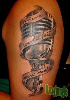 microphone tattoo by karolyi