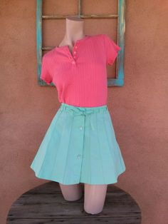 Vintage 1970s Skirt Mini Tennis Skirt Pistachio by bycinbyhand