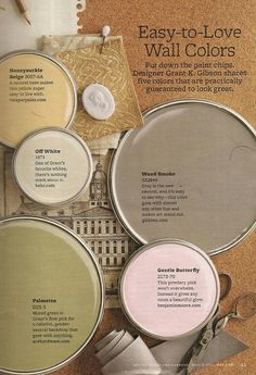 Easy-to-love wall colors from Better Homes and Gardens: Gentle Butterfly, Palmetto, Wood Smoke, Honeysuckle Beige, and Off White. Room Colors, Wall Colors, House Colors, Paint Colours, Unique Garden, Estilo Tropical, Paint Shades, Calming Colors, Love Wall
