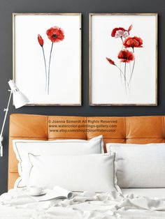 Poppies Set of 2 Art Prints. Floral Garden Watercolor Paintings. Poppy Living Room Wall Decor. Abstract Flowers Gift Idea. Meadow Illustration Wall Hanging. Red Poppy Home Decor. A price is for the set of 2 watercolor paintings as shown on the first photo.  Type of paper: Prints up to (42x29,7cm) 11x16 inch size are printed on Archival Acid Free 270g/m2 White Watercolor Fine Art Paper and retains the look of original painting. Larger prints are printed on 200g/m2 White Semi-Glossy P...