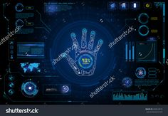 Futuristic Hand Scan Identify With Hud Element Interface Screen Monitor Design Background Template Stock Vector Illustration 403614919 : Shutterstock