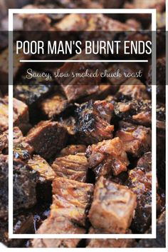 An amazing BBQ Burnt Ends recipe using the more affordable chuck roast. These little bites of meat candy are seriously addictive. Traeger Recipes, Barbecue Recipes, Grilling Recipes, Beef Recipes, Grilling Tips, Fun Recipes, Sausage Recipes, Candy Recipes, Cooker Recipes