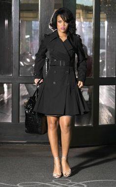 Rihanna in Black Trench Coat