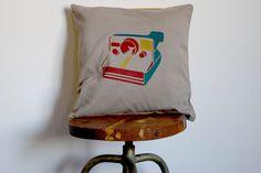 Polaroid Pillowcase - Original Stencil Fabric Cover Hand printed - Vintage Camera