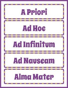 Latin for Kids Word Wall. Printable Latin vocabulary slips for classroom bulletin board. Fun Activities For Kids, Worksheets For Kids, Educational Activities, Learning Resources, Latin Phrases, Latin Words, Classroom Bulletin Boards, Classroom Fun, Printable Puzzles
