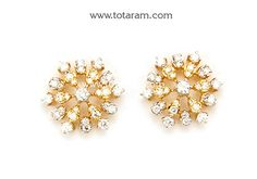 Diamond Earrings for Women in 18K Gold - DER821 - Indian Jewelry from Totaram Jewelers
