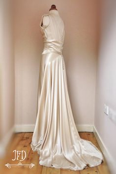 Image of SAMPLE SALE; OYSTER SILK SATIN ART DECO WEDDING DRESS WITH HAND BEADED DETAILING SIZE UK10