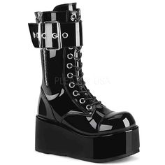 e27afb9cb Unisex Demonia Platform Mid-Calf Boot Black Patent at Hell s Boutique. 3  Platform Lace-Up Mid-Calf Boot Featuring Ornamental Inner   Outer Zipper  Details ...