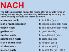 German verbs with preposition NACH - Top-Trends