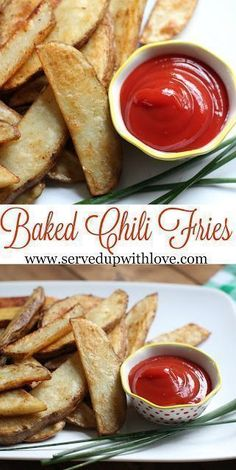 Baked Chili Fries recipe from Served Up With Love. The perfect potato side dish to go with those grilled burgers. #easy #recipes #sidedish #potatoes