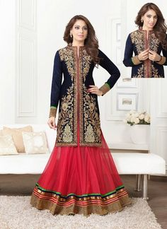 Bipasha Basu Red and Navy Blue Anarkali Suit