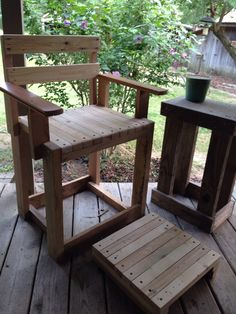 Porch Chair And Foot Rest Made From Motorcycle Pallets Arms Rests Are Ss Of Tigerwood Hardwood Flooring