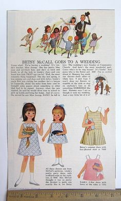 Vintage Paper Doll - Betsy McCall & Linda Goes to a Wedding - 1965 - Uncut | eBay
