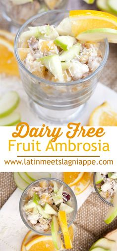 This delicious Dairy Free Fruit Ambrosia is the perfect holiday side dish, salad, or dessert! #ad #SilkDairyFree