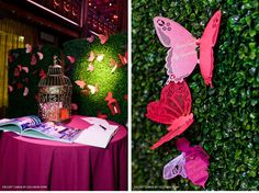 Laser cut butterfly escort cards attached to hedges with a pin. You can buy these butterflies on the Ceci New York website.