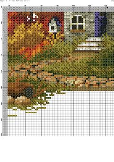 Cross Stitch House, Counted Cross Stitch Patterns, Autumn Home, Four Seasons, Cross Stitching, Pixel Art, Projects To Try, Flowers, Painting
