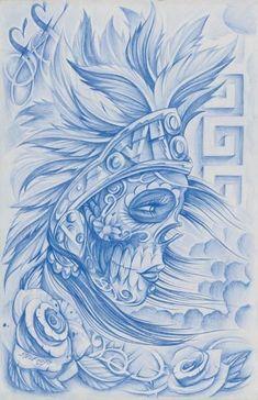 Blue Ink Aztec Warrior Girl Tattoo Design