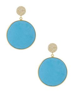 Round Turquoise CZ Drop Earrings on HauteLook