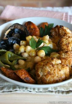 Moroccan flavored roasted veggies with warm, tender, lemony chickpeas - Vegan
