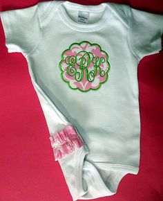 Custom Embroidered Scallop Applique Monogrammed T Shirt or Onesie, Baby Girl | eBay