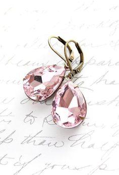 Dangle Earrings Pastel Pink Glass Drop Rhinestone