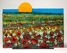 Poppy Field Fused Glass art by Anne Nye. Love it!