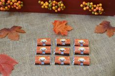 Scarecrow Fall Theme Baby Shower. Notes of Advice Table. Cute mini car bar wrappers. #shopcnf