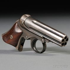Remington-Elliot Five-shot Pepperbox Pistol, c. 1860s-1870s, walnut grips with steel frame marked on barrel MANUFACTURED BY E. REMINGTON & SONS, ILION, NY, ELLIOTS PATENTS MAY 29, 1860-OCT. 1, 1861, lg. 4 3/4 in.