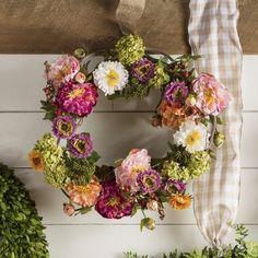 "August Grove 24"" Peony Wreath Spring Door Wreaths, Easter Wreaths, Wreaths For Front Door, Thanksgiving Wreaths, Shabby Vintage, Joss And Main, Forsythia Wreath, Hydrangea Wreath, Faux Flowers"