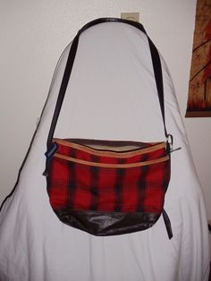 Pendleton- New- Black and red plaid purse/crossbody bag. Wool/ Cotton/Leather #Pendleton #Purse