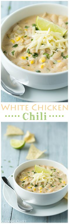 White Chicken Chili Soup Recipe Cooking Classy The BEST Homemade Soups Recipes Easy Quick and Yummy Lunch and Dinner Family Favorites Meals Ideas Chili Recipes, Soup Recipes, Chicken Recipes, Dinner Recipes, Recipe Chicken, Recipies, Cooker Recipes, Crockpot Recipes, Healthy Recipes