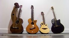 Harp guitar, 7 string fanned fret nylon, high-tuned 12 string, and of course, the ovation, my original and favorite.