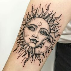 awesome sun & moon tattoo © tattoo artist Sandra 💖☀️🌙 💖 ☀️🌙 💖 tattoo ideen 50 Meaningful and Beautiful Sun and Moon Tattoos Dope Tattoos, Sun Tattoos, Pretty Tattoos, Unique Tattoos, Beautiful Tattoos, Body Art Tattoos, Small Tattoos, Sleeve Tattoos, Tattos