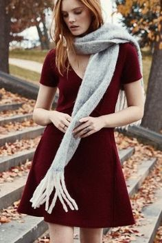 Seamed Boiled Wool Dress