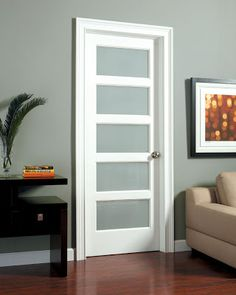 Shaker door, five panel with frosted glass : this is what I would want for my bathroom linen closet