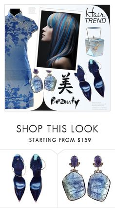"""Matchy-Matchy Hair: Blue Highlights"" by theseapearl ❤ liked on Polyvore featuring beauty, Givenchy, Federica Rettore, hairtrend and matchymatchyhair"